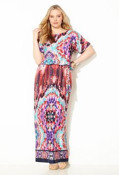 Geo Blouson Maxi Dress-Plus Size Dress-Avenue