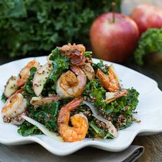 Apple Kale Quinoa Salad with Spicy Shrimp and Bacon.
