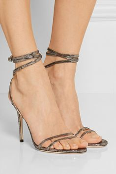 6758137cf3e7 Heel measures approximately 4 inches Gunmetal textured-leather  Buckle-fastening ankle strap Designer color  Steal Made in ItalySmall to  size.