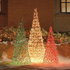 Lighted Cone Trees. Knock off idea: paint tomato cages & use net lights. is creative inspiration for us. Get more photo about home decor related with by looking at photos gallery at the bottom of this page. We are want to say thanks if you like to share this post …