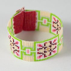 Strawberries & Cream Bead Loom Cuff Bracelet Native American Style Beaded Jewelry Boho Tribal Pink Quilting Beadweaving Southwestern
