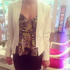 The cutest little work number @BB DAKOTA  #workflow #blazer #miniskirt #cutetop #summer #love #style #prettyprints #boutique #style