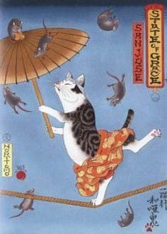 刺青を入れる猫のイラスト「Monmon Cats」が和テイストでホッコリ&カッコイイ!