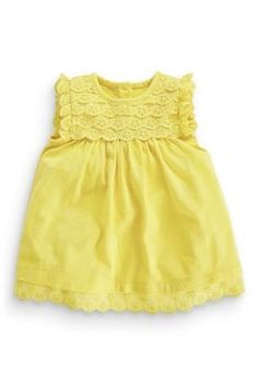Buy Yellow Lace Trim Jersey Dress (0-18mths) from the Next UK online shop