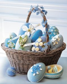 Being blue has never felt so good -- especially since little presents, such as a vintage bluebird, are tucked inside these shimmering egg boxes.