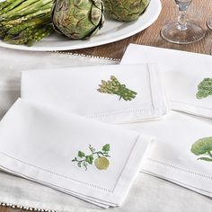 Red Barrel Studio No green thumb needed to appreciate these cotton napkins, featuring a classic hemstitched border with an embroidered melon design. Cotton Napkins, White Napkins, Napkins Set, Linen Napkins, Wedding Color Schemes, Wedding Colors, Cotton Textile, Napkin Folding, Wedding Napkins