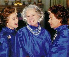 Dowager Queen Elizabeth (Elizabeth Angela Marguerite Bowes-Lyon)  (Queen Mum) (4 Aug 1900-30 Mar 2002) Scotland (Middle) & children Queen Elizabeth II (1926-living2015)  (L) & sister Princess Margaret (1930-2002)  (R) in matching colors.