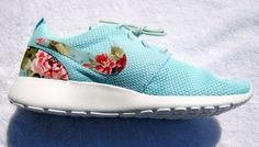 Awesome sea green floral running shoes.