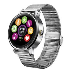 Lemonda Smart Round Sports Watch 2.5D Curved Surface Screen Heart Rate Monitor Pedometer Calorie Consumption Information Remind IP54 Waterproof Smart Watch Compatible with iPhone (Silver)   Specification: Size:48*43.5*12.5mm Weight:74g Chipset: MTK 2502c Mode:Bluetooth Display:1.22' 240x204 resol