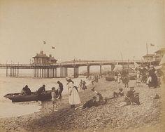 people on Brighton Beach. Brighton Sea, Brighton Museum, Brighton Sussex, Brighton And Hove, Images Of England, Royal Pavilion, British Seaside, Vintage Bikini, Great British