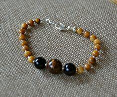 Earthtone Beaded Bracelet Brown and Tan Beaded by DebWiseCreations