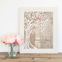Engagement Wedding Gift Love Birds in Tree Newly by WordOfLove