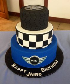 Made this tire ,Mini Cooper birthday cake.