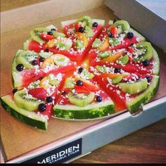 Watermelon pizza- perfect for healthy dessert or for our Teenage Mutant Ninja Turtles party!