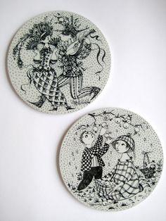 Ceramic wall art by Björn Wiinblad