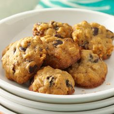 Chocolate Chip Oat Cookies Recipe -Back in the '30s, my grandmother found this recipe on a cereal box. For moist, flavorful oatmeal cookies, these can't be beat! They make a tasty snack that's convenient to take along on family outings. —Diane Maughan, Cedar City, Utah