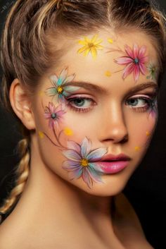 Flowers serie continu by Damien Mohn on Face Painting Flowers, Eye Face Painting, Face Painting Designs, Face Paintings, Flower Makeup, Fairy Makeup, Carnival Makeup, Eye Makeup Art, Face Paint Makeup