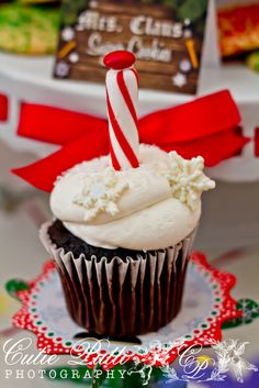 North Pole cupcakes at a Christmas party!  See more party ideas at CatchMyParty.com!  #partyideas #christmas