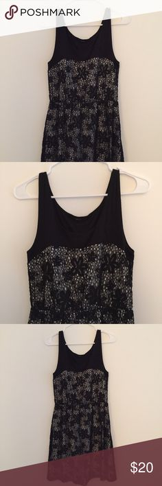 Black and white dress Floral lace detail. Sleeveless. Dresses