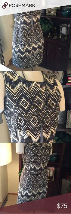 J Crew Dress.  NWT This go anywhere Dress by J Crew is black, brown and cream Aztec print. Is sleeveless, round neckline, fully lined and dry clean only. Can be your uptown, downtown Dress with heels or casual with sandals or flats. Big Hit for your Closet!🎀🎀 J Crew Dresses Midi