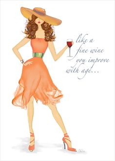 Fine Wine Birthday Card - Wine lovers, this fashion illustration greeting card is for you!