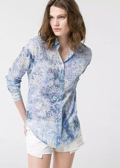 03cb203c862 Euro Style Women Floral Printing Long Sleeve Turndown Neck Going Out Blouse