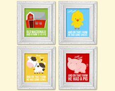 Farm animal, old macdonald had a farm nursery prints, 4 8x10, nursery playroom art prints, kids art, babies art, bedroom decor on Etsy, £17.49