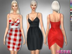 Sims 4 CC's - The Best: V-neck dress with belt by sims2fanbg