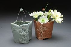 Wirehandled flower basket Cornflower blue by KiefferCeramics