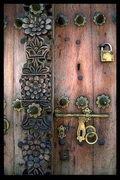 Intricate Woodwork on a Stonetown Door  Zanzibar, Tanzania,...