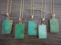 Chrysoprase Rectangle and Gold Pendant Necklace/Gemstone/Australian Jade/Mint Green/Seafoam