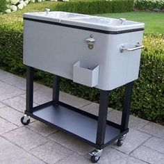 Entertain In Style With This Steel Metallic Silver Patio Cooler Cart  Designed By Oakland Living.