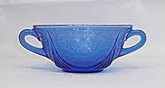 Ritz Blue Royal Lace 4 3/4 Depression Glass Cream Soup Bowl