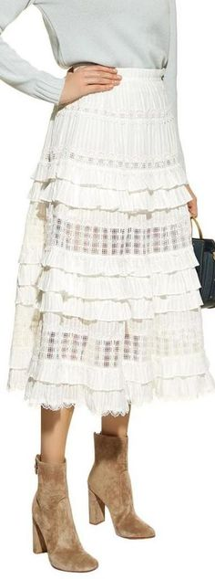 by /& by Ruffle White High-Low Gauze Skirt
