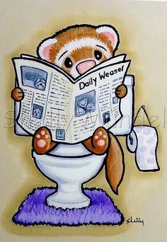 Potty Painting Reading Ferret Art Print by Shelly Mundel