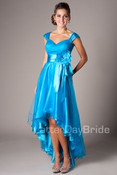 Beautiful blue waterfall dress, good with heals and a nice tall guy.  So graceful and lovely!  : )
