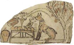 Ostracon (dessin sur un morceau de calcaire ou une pierre) - conversation entre Rê (le chat)  et Amon (l'oie) - 1186-1069 - dessin à l'encre et peinture