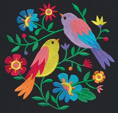 30 trendy ideas for bird embroidery designs unique urban threads Urban Threads, Mexican Embroidery, Crewel Embroidery, New Embroidery Designs, Embroidery Patterns, Unique Art Projects, Mexican Folk Art, Embroidery Techniques, Fabric Painting