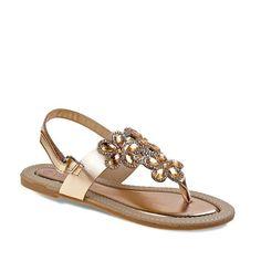 Laura Ashley Girls' Jeweled Slingback Sandals, Girl's, Size: 13, Gold