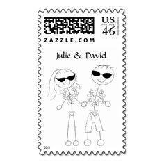 Beach Wedding Couple Stamps