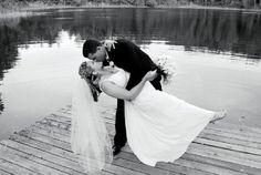 Bride Groom in front of lake