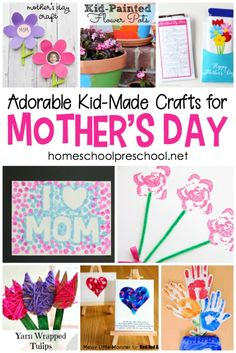 Each one of these Mothers Day crafts is designed for kids to create themselves. They're a great way to show Mom how special she is. There are so many great ideas to choose from! #homeschoolprek #mothersday #mothersdaycraft #mothersdaycrafts #handprintcrafts #preschool #prek #prekathome #kidscrafts #craftsforkids https://homeschoolpreschool.net/mothers-day-crafts/