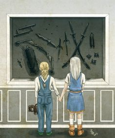 """[Young Artemis Crock and Rose Wilson, holding hands and looking at a wall of various kinds of weapons. Artemis is in blueoveralls, a white shirt, and green shoes, and she's holding a teddy bear. Rose is in a blue and orange dress with brown cuffed boots, reminiscent of her Ravager costume.] redthabeest: fuckyeahrosewilson: aionyu: """"Which one are you choosing?"""" Artemis and Rose are deciding what kind of training they want to prepare for their future; the future that was chosen for them by…"""