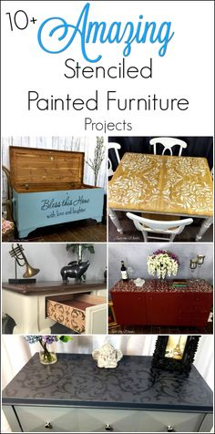 10 amazing stenciled painted furniture projects. Adding stencil to painted furniture gives an extra unique touch. Here are 10 amazing stenciled painted furniture projects.  via @justthewoods