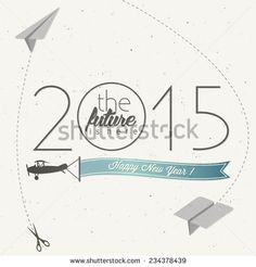 New Year's Eve Card. Retro cartoon style New Year greetings illustration. New year greeting card. Happy new Year 2015. Vintage style typographic and calligraphic symbols for new years ewe card design. - stock vector