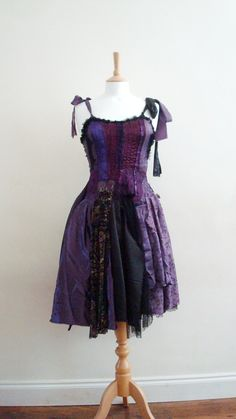 Upcycled Dress  Woman's Clothing Purple Aubergine Violet Black Steampuk Patchwork Fairy Tattered Fairy Doll. $224.00, via Etsy.