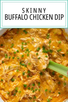 Skinny Buffalo Chicken Dip has everything you love about your favorite tailgate dip, but lightened up with less fat and more protein in this healthier version! Supper Recipes, Side Dish Recipes, Appetizer Recipes, Appetizers, Side Dishes, Healthy Dip Recipes, Sweets Recipes, Drink Recipes, Delicious Recipes