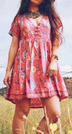 Women's Deep V Neck Floral Printed Short Sleeve Dress