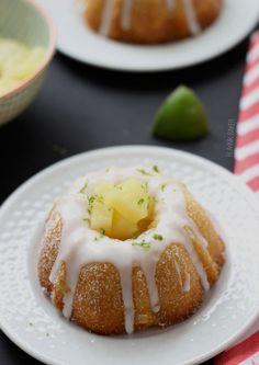 Mini Pineapple Lime Mojito Bundt Cakes
