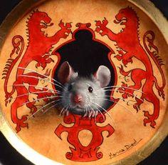 Friday's detail: miniature oil and ink. ( Mouse the Lionheart ) Le détail du vendredi: miniature encre et huile. ( Souris Coeur de Lion )